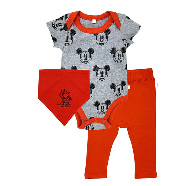 Finn + Emma Baby Boy Red Mickey Mouse Organic Outfit and Bib Set