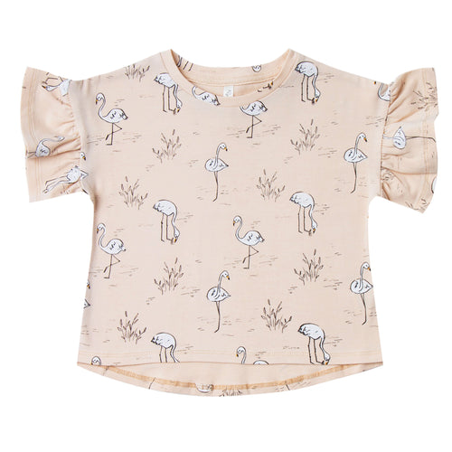 Girls light pink short sleeve tee with allover flamingo print