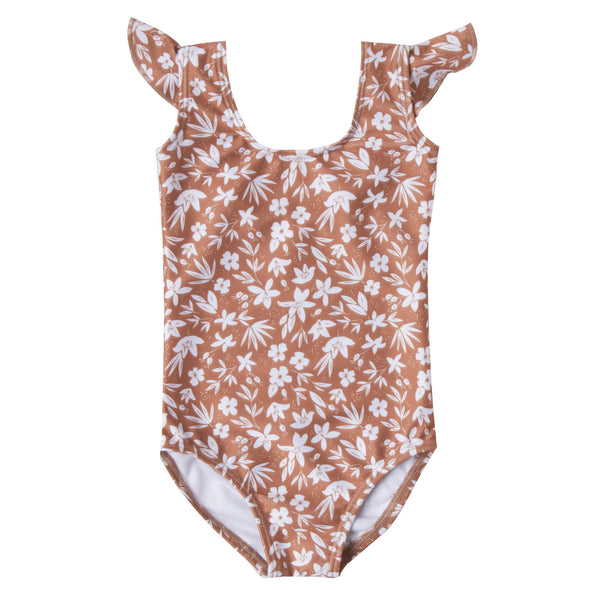Girls pink one piece swimsuit with ditsy print and ruffle shoulders