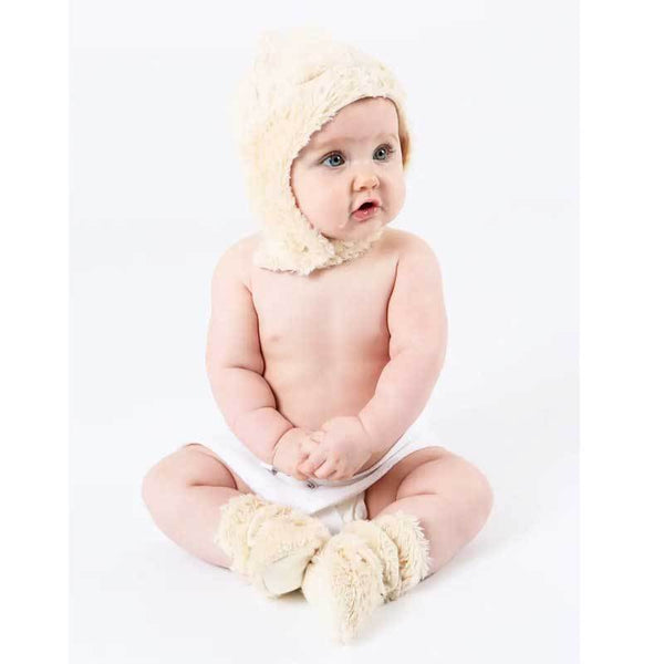 Baby with faux fur sherpa ear flap hat