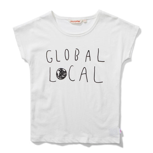 Girls cream short sleeve tee with Local graphic