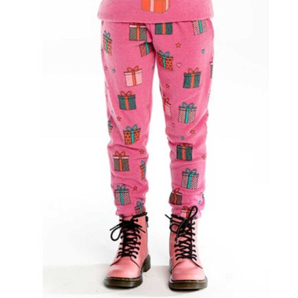 Chaser Kids Pink Holiday Presents Love Knit Girls Sweatpants