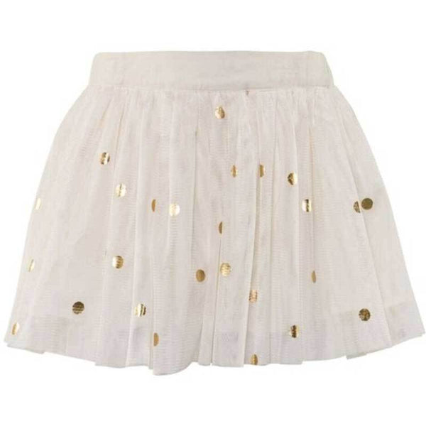 Cream girls tulle skirt with gold dots