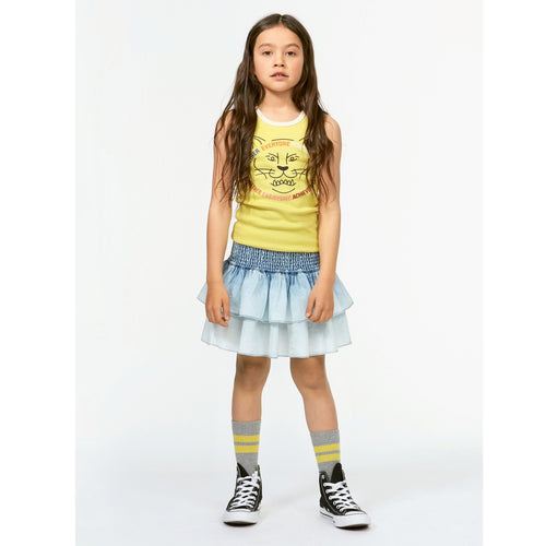 Molo light blue denim tiered girls skirt
