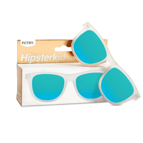 White frame with blue lens baby and kid sunglasses
