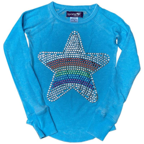 Sparkle by Stoopher Rainbow Star Gem Tee, Blue Thermal