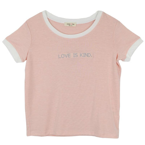 Power pink tween girl tee with white trim and love is kind