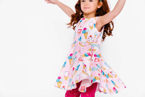 Pink girls ice cream dress on model