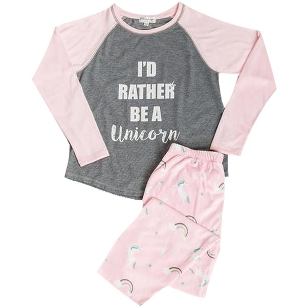 Girls I'd rather be a unicorn pajama set