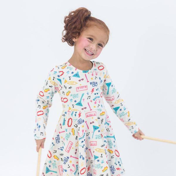 Girls colorful twirl rock and roll dress