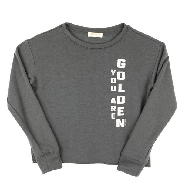 Izzy Be tween girl grey golden cropped sweatshirt