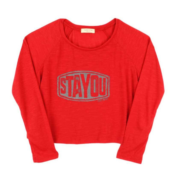 Izzy Be red tween girl tee shirt with stay you graphic