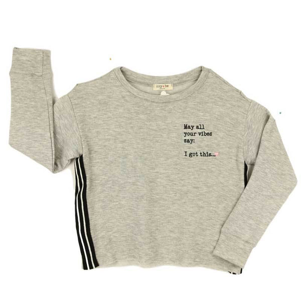 Izzy Be grey tween girl sweatshirt with black stripe sides