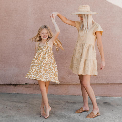 Rylee and Cru yellow floral Aline girls dress with shoulder ties