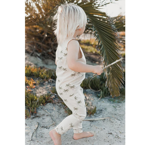 Rylee and cru sleeveless knit palm tree baby romper
