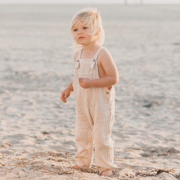 Rylee and cru olive stripe linen baby overalls