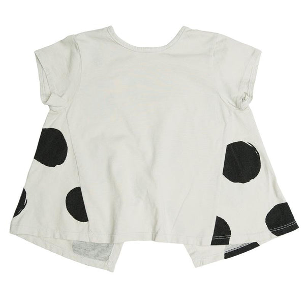 Joah Love white cross back top for girls with large black dots