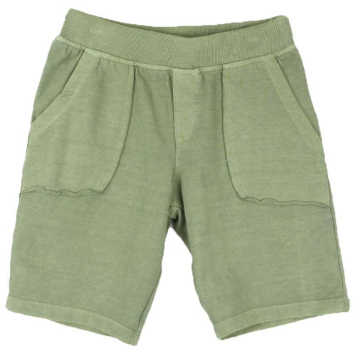 Olive green knit shorts for boy