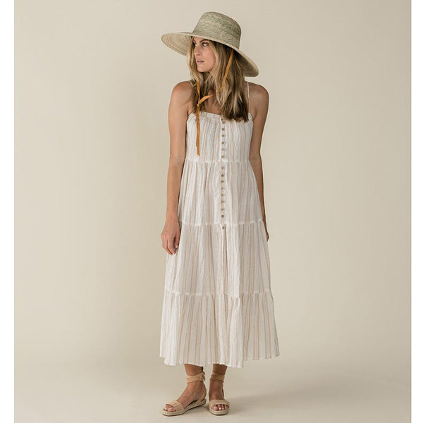 Women's cream and tan stripe maxi dress