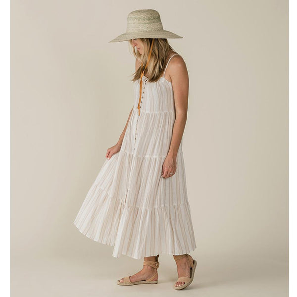 Cream and tan stripe maxi dress for women