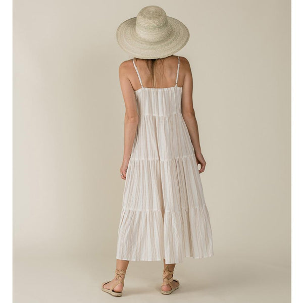 Women's tiered cream and tan stripe maxi dress