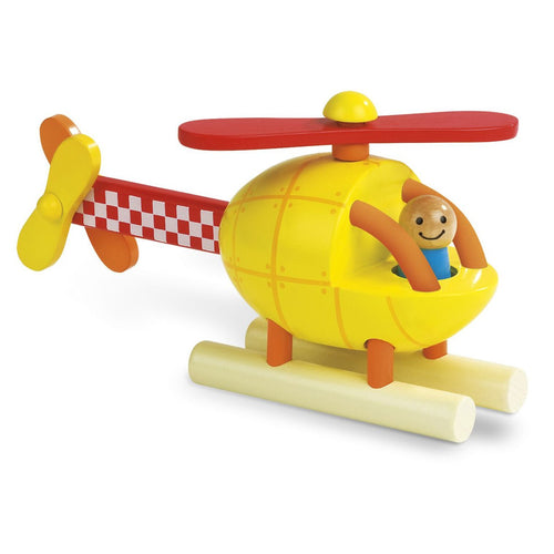 Yellow wooden helicopter with peg person pilot. Red rotor, red checkered tail, orange detailing.