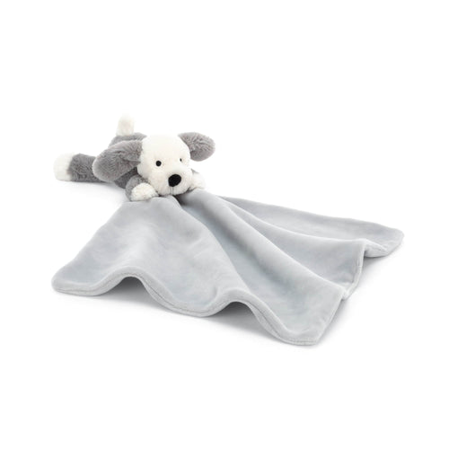Jellycat grey puppy dog baby blanket soother