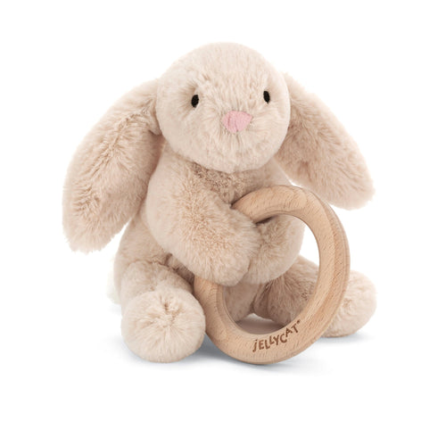 Jellycat beige bunny plush baby toy with wooden ring
