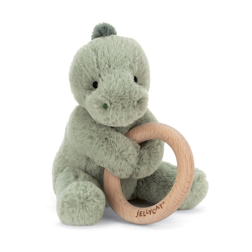 Jellycat green dinosaur plush baby toy with wooden ring