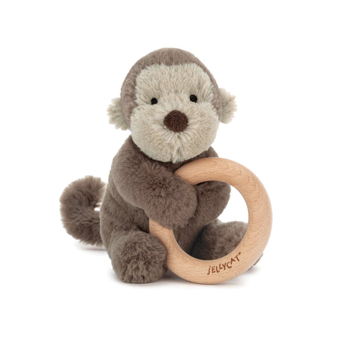 Jellycat brown monkey plush baby toy with wooden ring