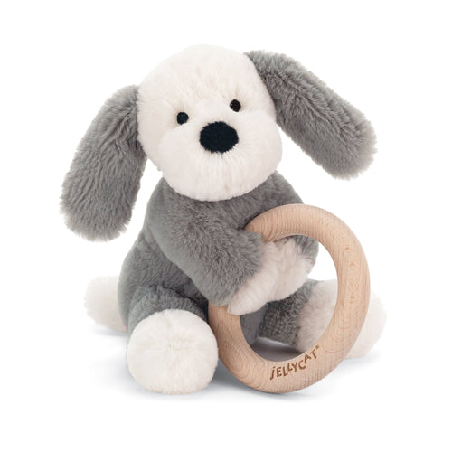 Jellycat grey puppy dog plush baby toy with wooden ring