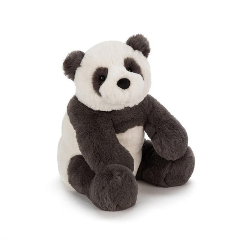 Black and white stuffed panda by Jellycat