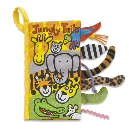 Fabric baby book with jungle animal tails