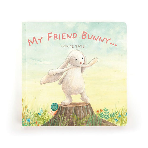 Cover of book with drawn bunny on tree stump