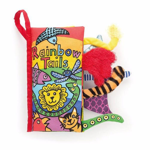 Baby cloth book with rainbow animal tails