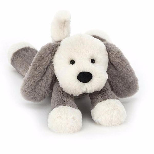 Grey and cream soft stuffed puppy