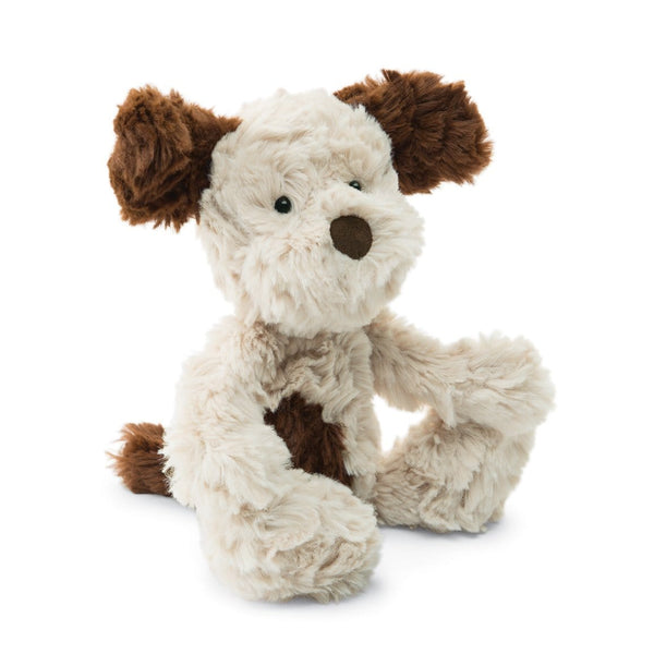 Jellycat Squiggles Puppy Dog stuffed animal tan and brown