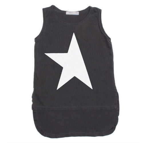 Joah love black star girls tank top with high low hem