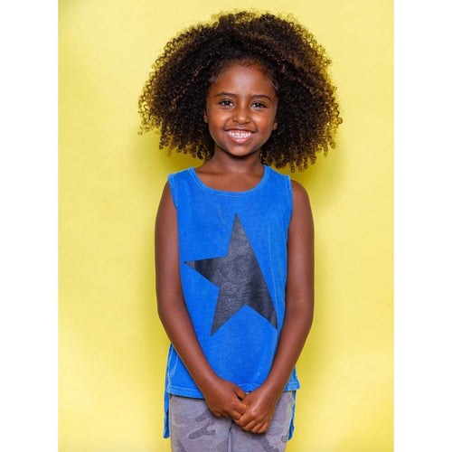 Joah love blue sleeveless star girls sleeveless top