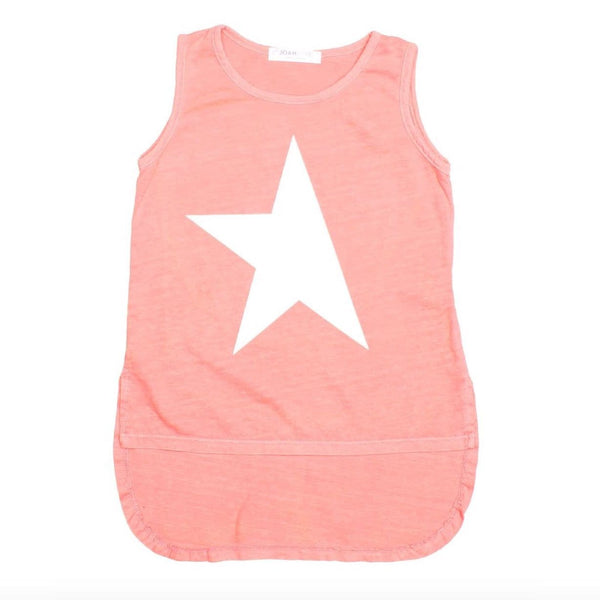 Joah love coral sleeveless star girls tank top