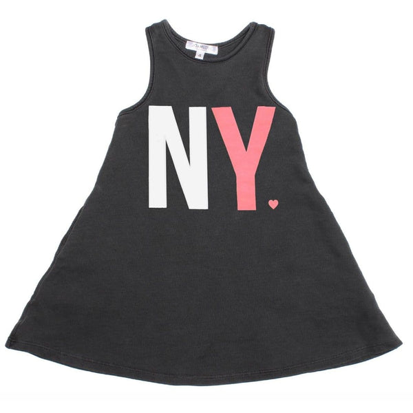Joah love black sleeveless new york jersey girls dress