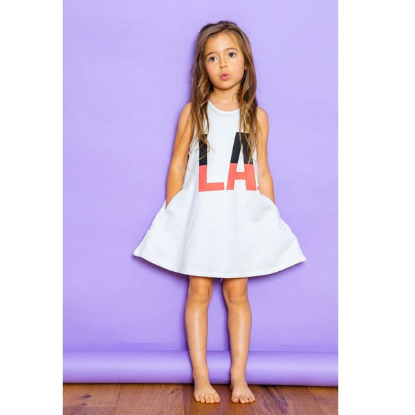 Joah Love white knit los angeles graphic girls dress