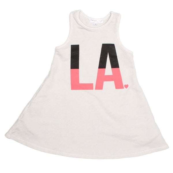 Joah Love white sleeveless los angeles graphic girls dress