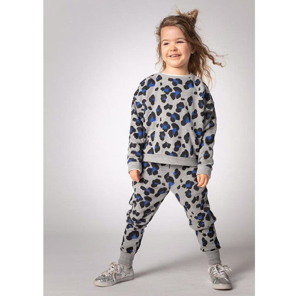 Joah Love cheetah heather grey  girls joggers