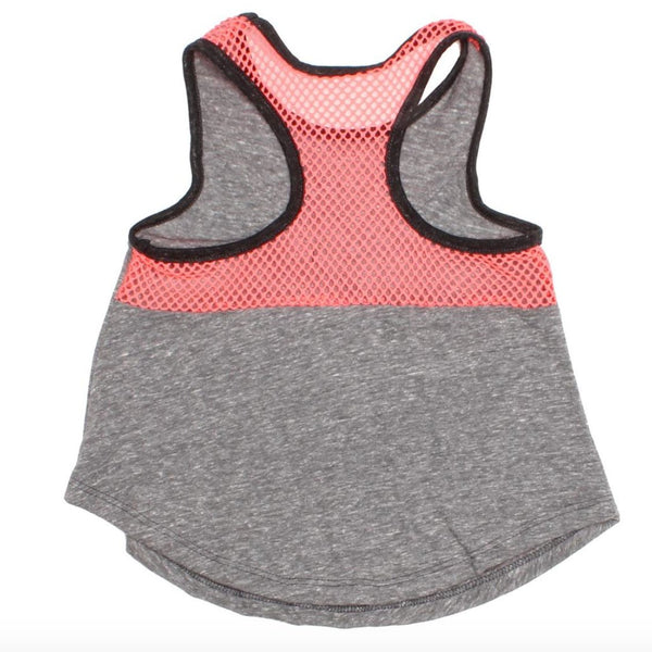 Joah love grey and neon knit girls tank top