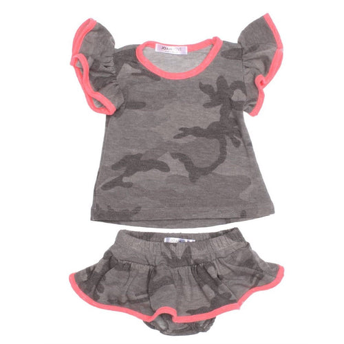 Joah love grey camouflage two piece baby girl set