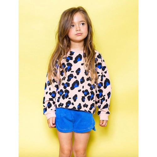 Joah love blush pink cheetah print girls sweatshirt