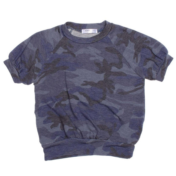 Joah Love blue short sleeve camouflage girls top