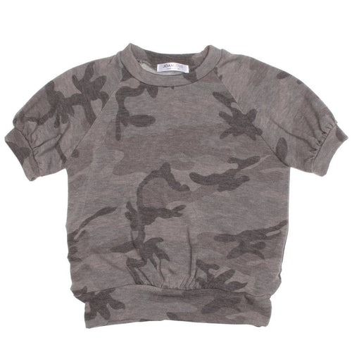 Joah love grey camouflage short sleeve girls top