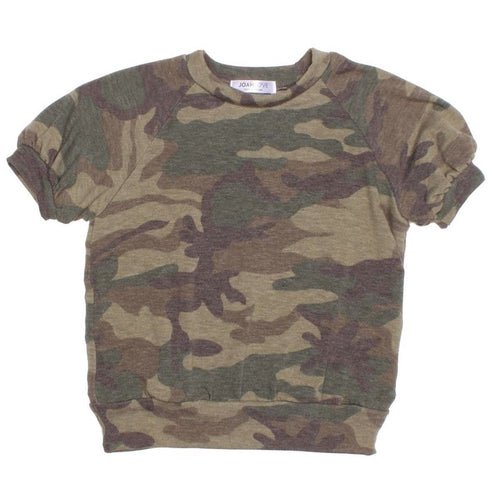 Joah love olive green camouflage girls short sleet top